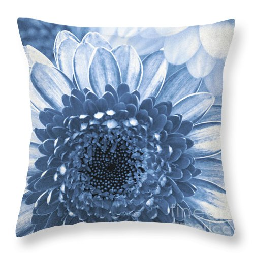 Flower Throw Pillow featuring the mixed media Blue Gerbera by Angela Doelling AD DESIGN Photo and PhotoArt