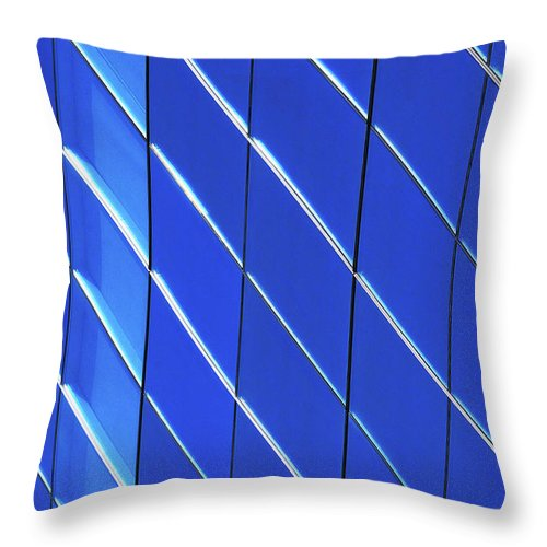 Outdoors Throw Pillow featuring the photograph Blue Glass Modern Building by Joelle Icard