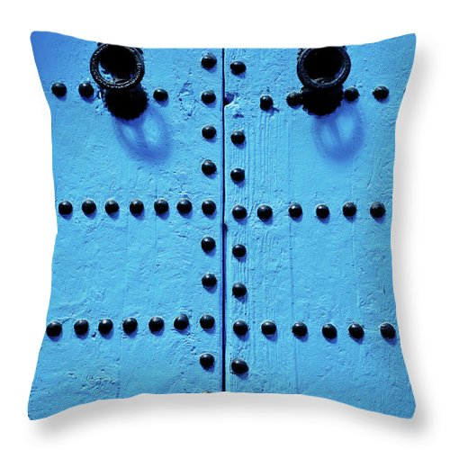 Shadow Throw Pillow featuring the photograph Blue Moroccan Door by Kelly Cheng Travel Photography