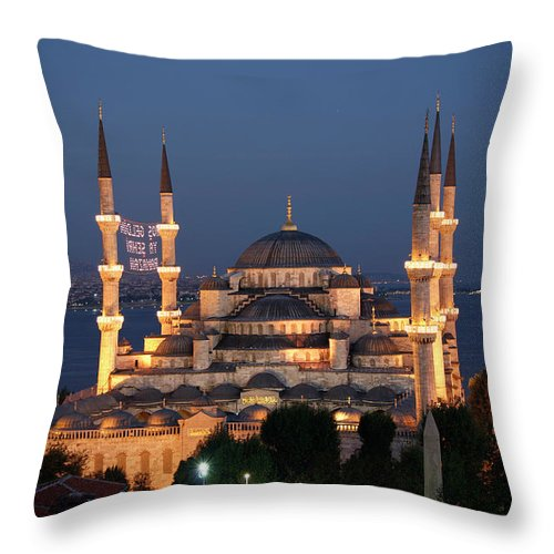 Istanbul Throw Pillow featuring the photograph Blue Mosque In Istanbul by Ayse Topbas