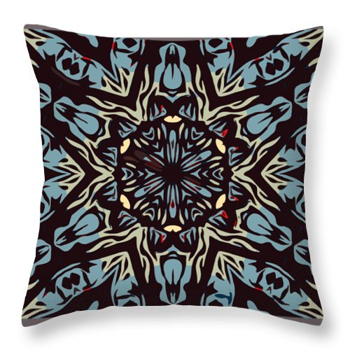 Throw Pillow featuring the drawing Blue Pattern by Beena Bamania