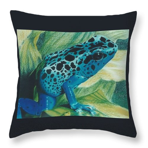 Amphibian Throw Pillow featuring the drawing Blue Poison Dart Frog by Barbara Keith