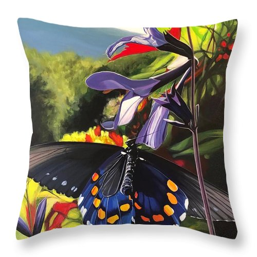 Appalachians Throw Pillow featuring the painting Blue Ridge Summer by Hunter Jay