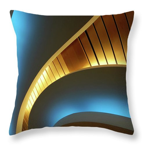 Curve Throw Pillow featuring the photograph Blue Swirl by Copyright Ralph Grunewald