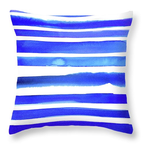 Art Throw Pillow featuring the digital art Blue Textured Stripes by Johnwoodcock