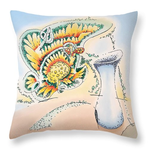Blue Throw Pillow featuring the painting Blue Vase by Dave Martsolf