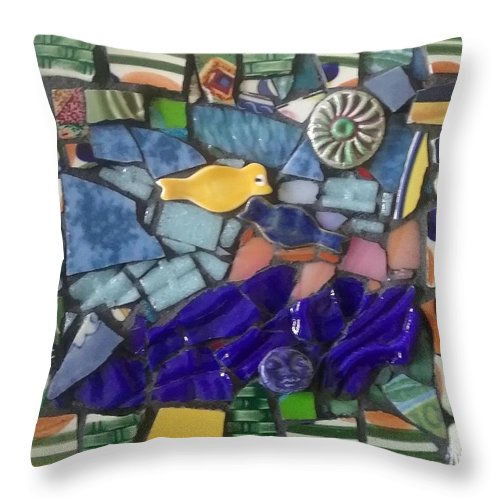Collage Throw Pillow featuring the mixed media Blue Water by ILona Halderman