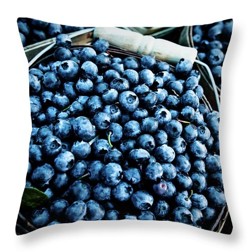 Heap Throw Pillow featuring the photograph Blueberries At Farmers Market by Richard Deming Photography