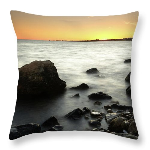 Water's Edge Throw Pillow featuring the photograph Bluff Point Sunset by Ericfoltz