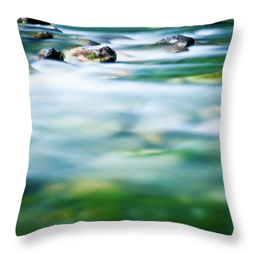 Scenics Throw Pillow featuring the photograph Blurred River by Assalve