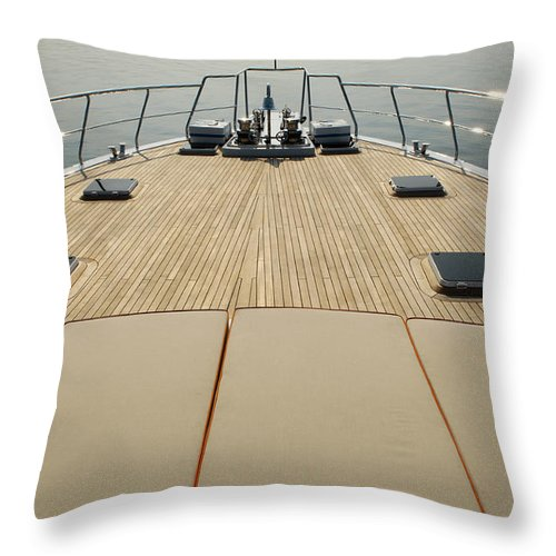 Seascape Throw Pillow featuring the photograph Boat Deck by 1001nights