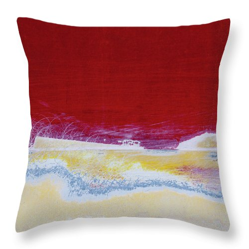 Red Throw Pillow featuring the photograph Boat Paint Job Abstract by Carol Leigh