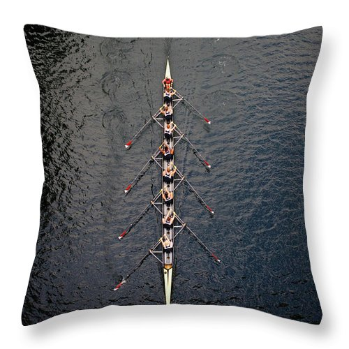 Viewpoint Throw Pillow featuring the photograph Boat Race by Fuse