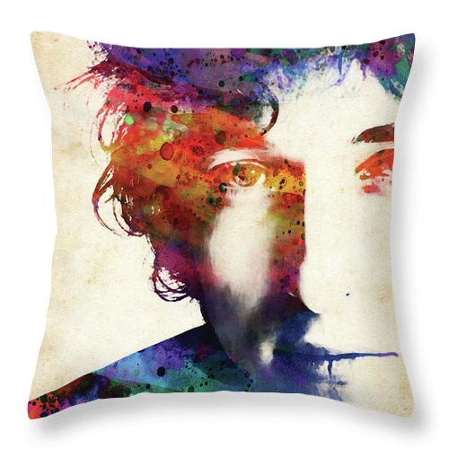 Bob Dylan Throw Pillow featuring the digital art Bob Dylan colorful watercolor by Mihaela Pater