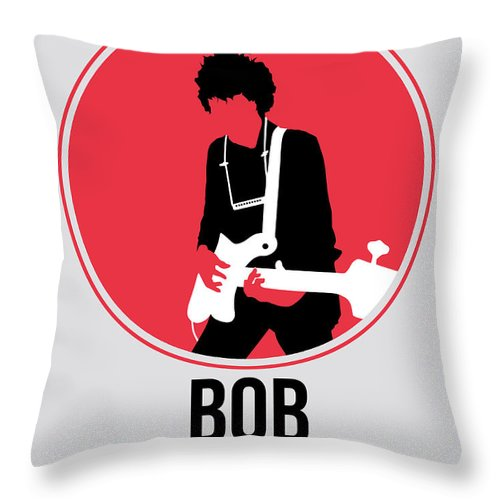 Bob Dylan Throw Pillow featuring the digital art Bob Dylan by Naxart Studio
