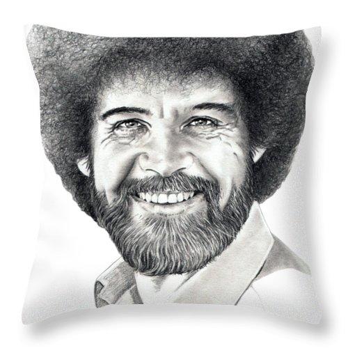Pencil Throw Pillow featuring the drawing Bob Ross by Murphy Elliott