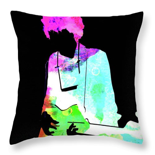 Bob Dylan Throw Pillow featuring the mixed media Bob Watercolor II by Naxart Studio