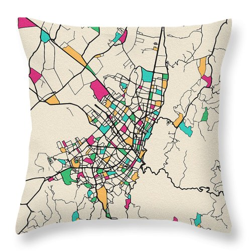 Bogota, Colombia City Map Throw Pillow