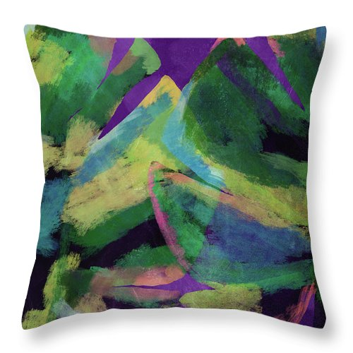 Tropical Art Throw Pillow featuring the mixed media Bold Tropical Dreams- Art By Linda Woods by Linda Woods