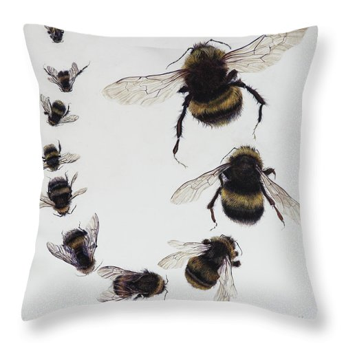 Nature Throw Pillow featuring the painting Bombus by Odile Kidd