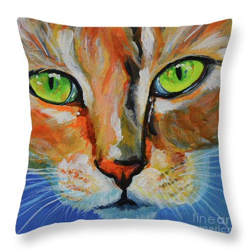 Kitty Throw Pillow featuring the painting Booboo Kitty by Sharon Taylor