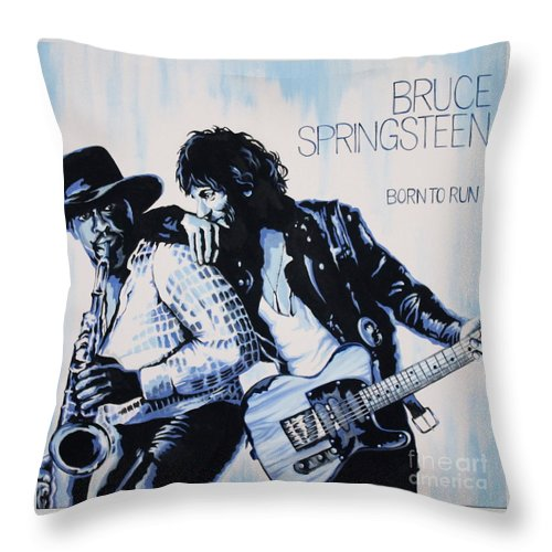 Bruce Springsteen Throw Pillow featuring the painting Born to Run Bruce Springsteen by Amy Belonio