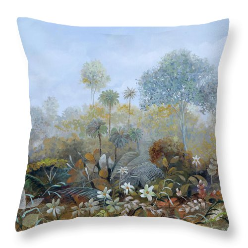 Wood Throw Pillow featuring the painting Boschetto Colorato by Guido Borelli