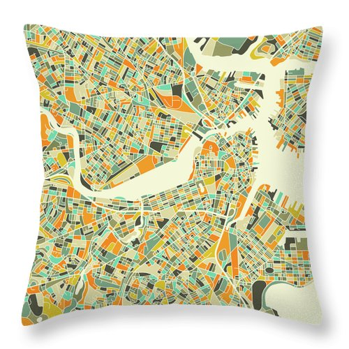 Boston Map Throw Pillow featuring the digital art Boston Map 1 by Jazzberry Blue