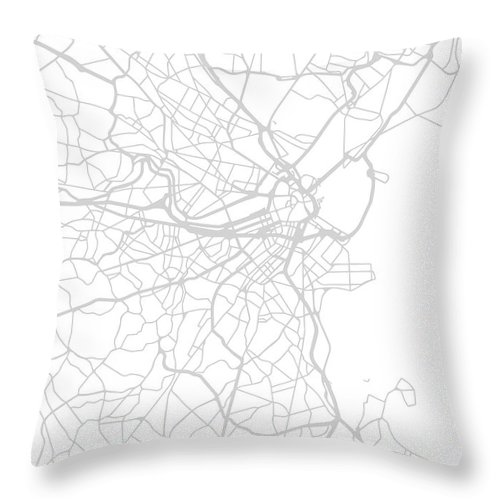 Boston Throw Pillow featuring the mixed media Boston Massachusetts City Street Map Black And White Minimalist Series by Design Turnpike