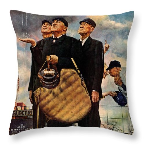 Baseball Throw Pillow featuring the drawing Bottom Of The Sixth by Norman Rockwell
