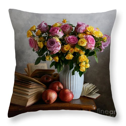 Vase Throw Pillow featuring the photograph Bouquet Of Flowers In White Vase by Nikolay Panov