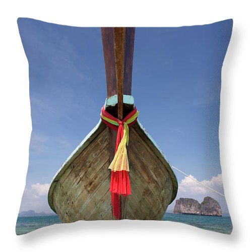 Andaman Sea Throw Pillow featuring the photograph Bow Of A Long-tailed Boat, Thailand by Enviromantic
