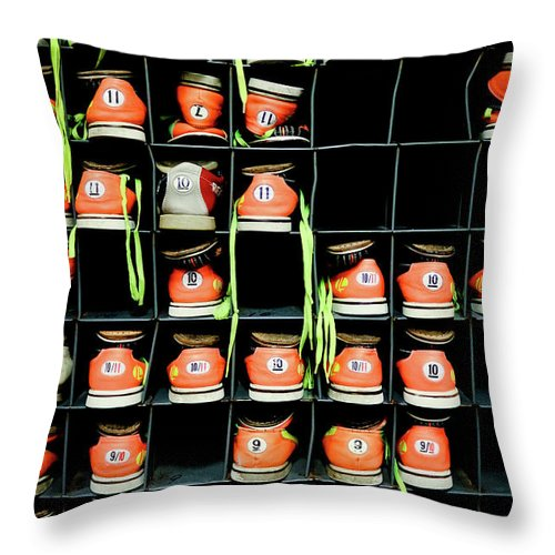 Orange Color Throw Pillow featuring the photograph Bowling Shoes by Christian Bird