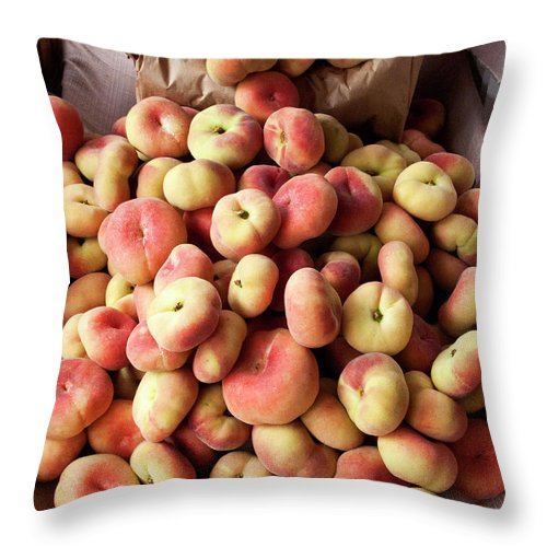 Retail Throw Pillow featuring the photograph Box Of Donut Peaches At A Farmers Market by Bill Boch