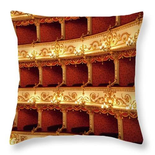 Event Throw Pillow featuring the photograph Boxes Of Italian Antique Theater by Naphtalina