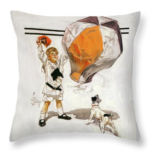 Joseph Christian Leyendecker Throw Pillow featuring the painting Boy And Dog And A Balloon - Digital Remastered Edition by Joseph Christian Leyendecker