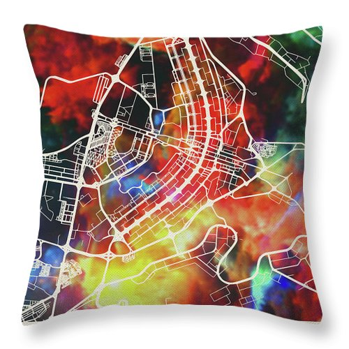 Brasilia Throw Pillow featuring the mixed media Brasilia Brazil Watercolor City Street Map by Design Turnpike