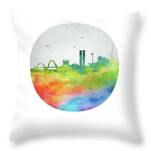 Brasilia Throw Pillow featuring the digital art Brasilia Skyline Cityscape Brbr20 by Aged Pixel