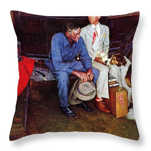 College Throw Pillow featuring the drawing Breaking Home Ties by Norman Rockwell