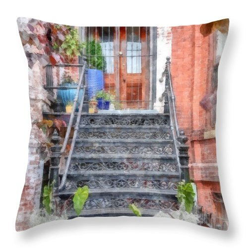 Stairs Throw Pillow featuring the digital art Brick Townhouse Walkup Watercolor by Edward Fielding