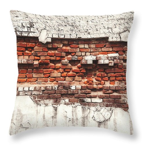 Tranquility Throw Pillow featuring the photograph Brick Wall Falling Apart by Ty Alexander Photography