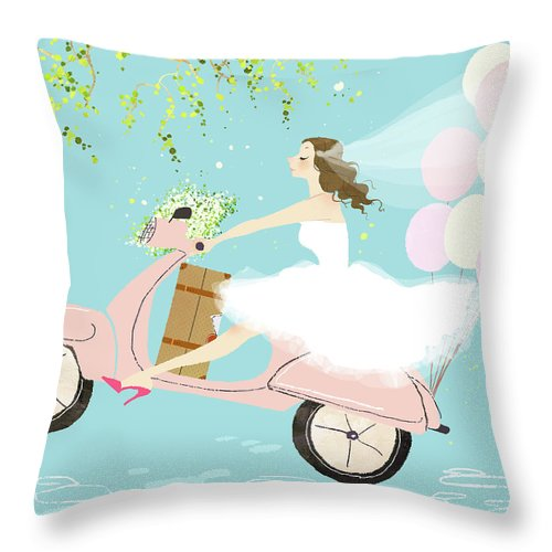 People Throw Pillow featuring the digital art Bride On Scooter by Eastnine Inc.