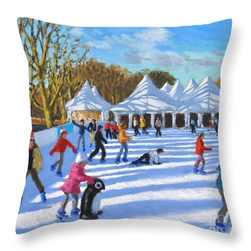 Bright Morning Throw Pillow featuring the painting Bright Morning, Hampton Court Palace Ice Rink, London by Andrew Macara