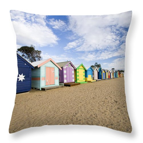 Steps Throw Pillow featuring the photograph Brighton Beach Huts by Samvaltenbergs