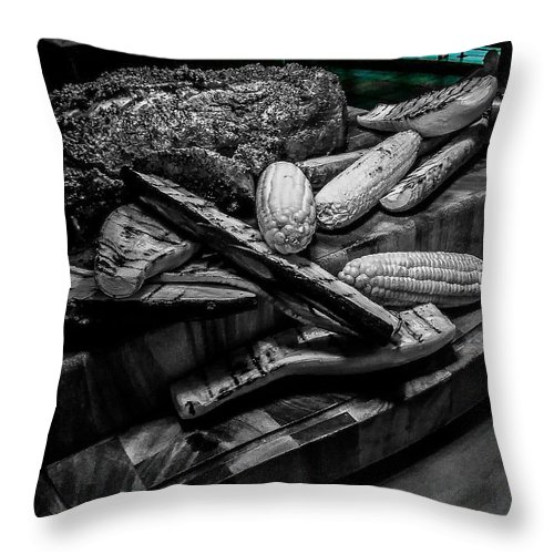 Throw Pillow featuring the mixed media Briskey Bites by Darnell Ligon