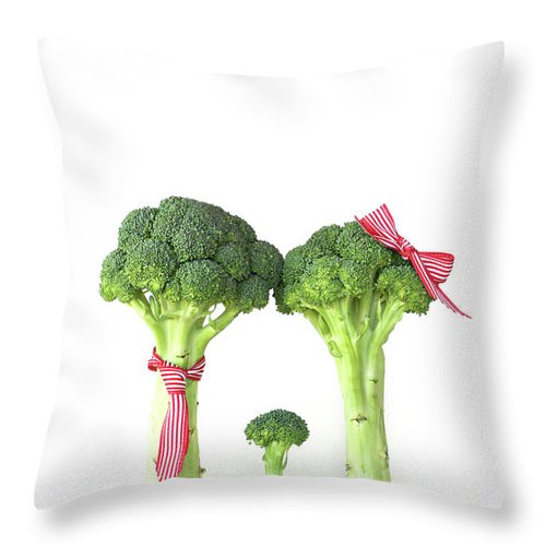 Broccoli Throw Pillow featuring the photograph Broccoli Dad, Mom And Baby by Stephanie Mull Photography