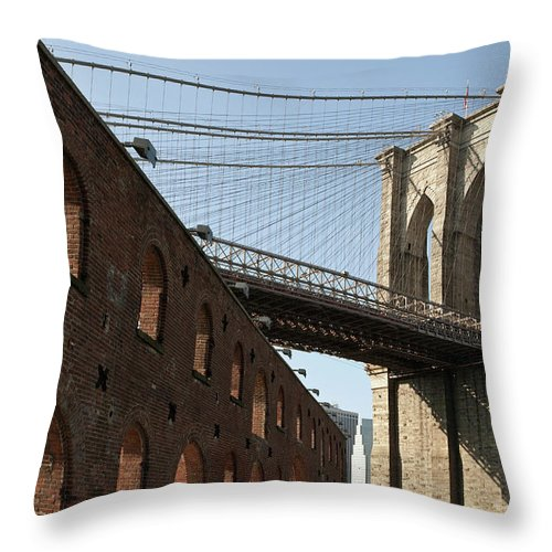 Arch Throw Pillow featuring the photograph Brooklyn Bridge & Empire Fulton Ferry by Just One Film