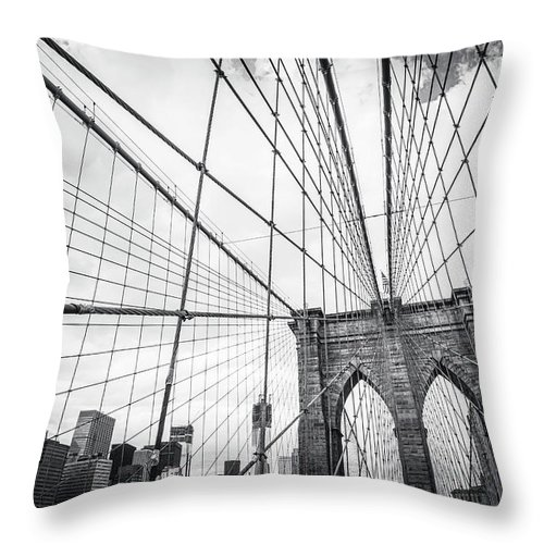 Downtown District Throw Pillow featuring the photograph Brooklyn Bridge And New York Skyline by Cirano83