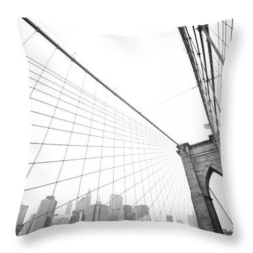 Wire Throw Pillow featuring the photograph Brooklyn Bridge Cityscape by Digi guru