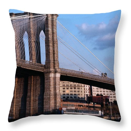 Built Structure Throw Pillow featuring the photograph Brooklyn Bridge by Dick Luria
